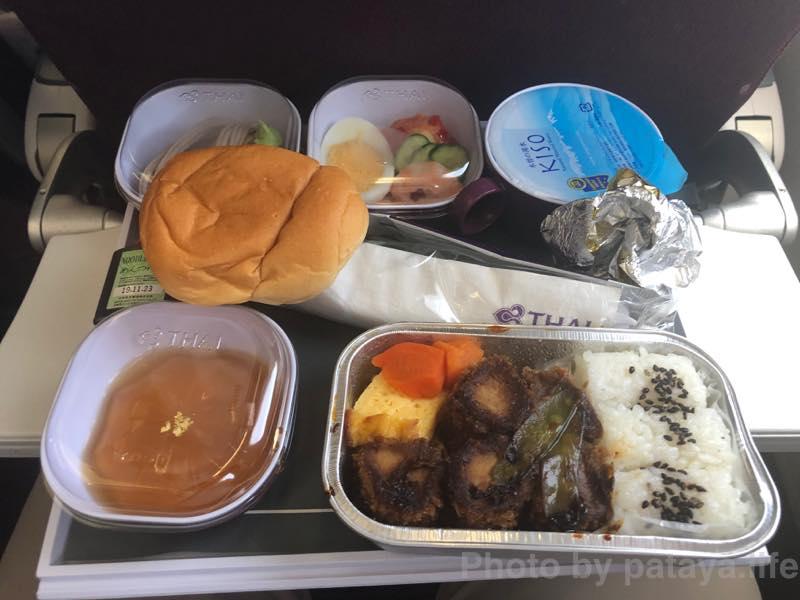 中部空港発のタイ航空の機内食
